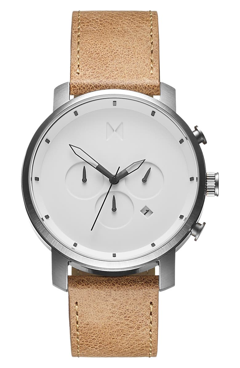 MVMT Chronograph Leather Strap Watch, 45mm, Main, color, TAN/ WHITE/ SILVER