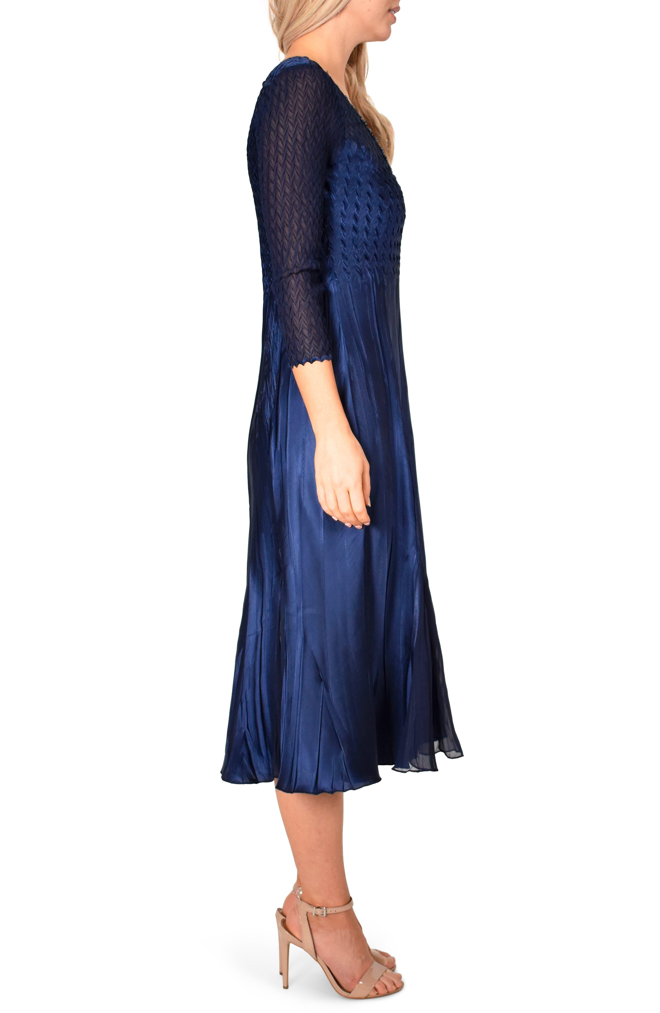 ,                             Kamarov Charmuese & Chiffon Dress,                             Alternate thumbnail 4, color,                             MIDNIGHT NAVY