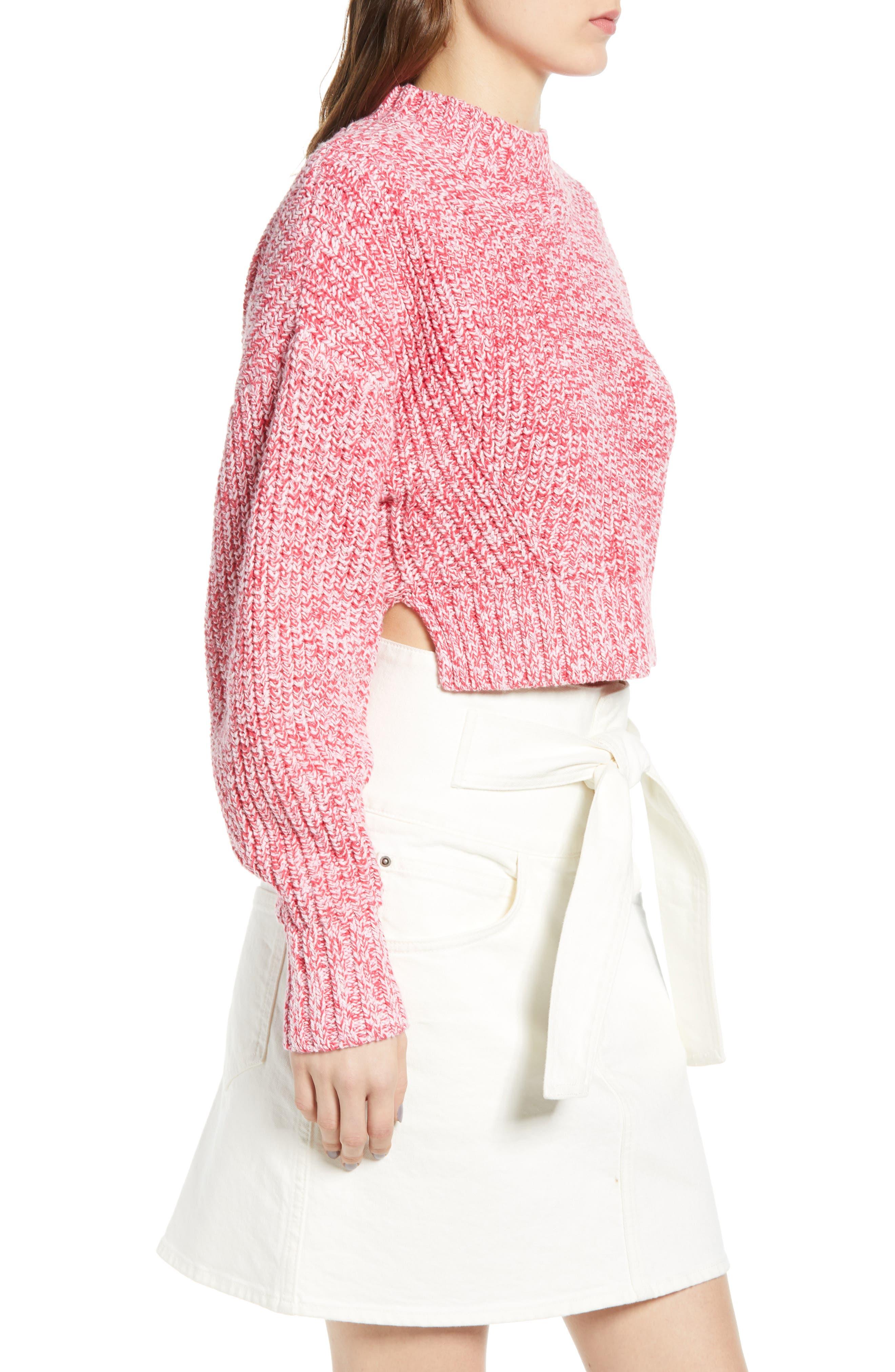 ,                             Blouson Sleeve Sweater,                             Alternate thumbnail 3, color,                             PINK MELANGE