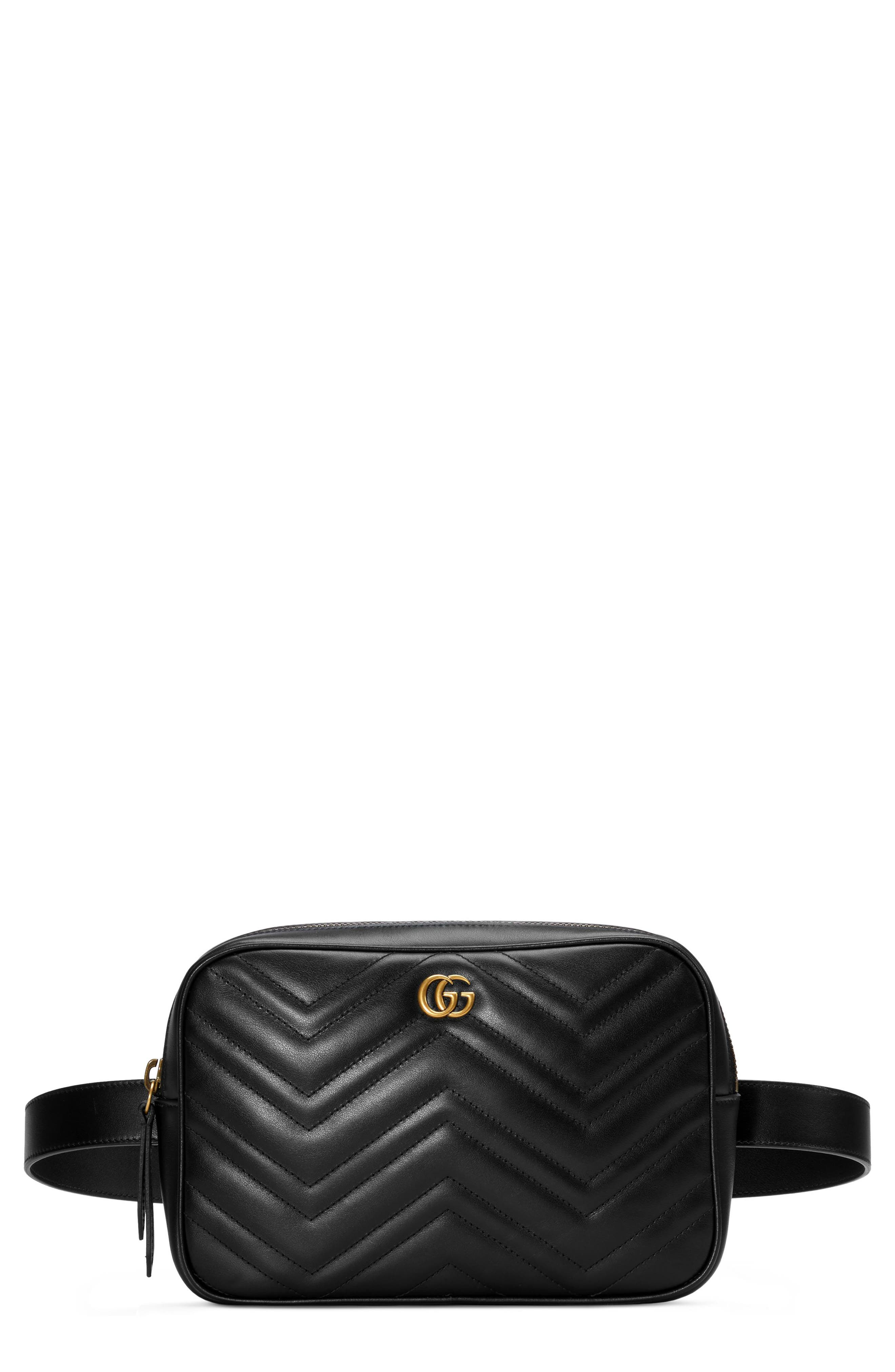 6b6c7eb0ac0c Gucci Gg Marmont 2.0 Matelasse Convertible Leather Belt Bag - Black
