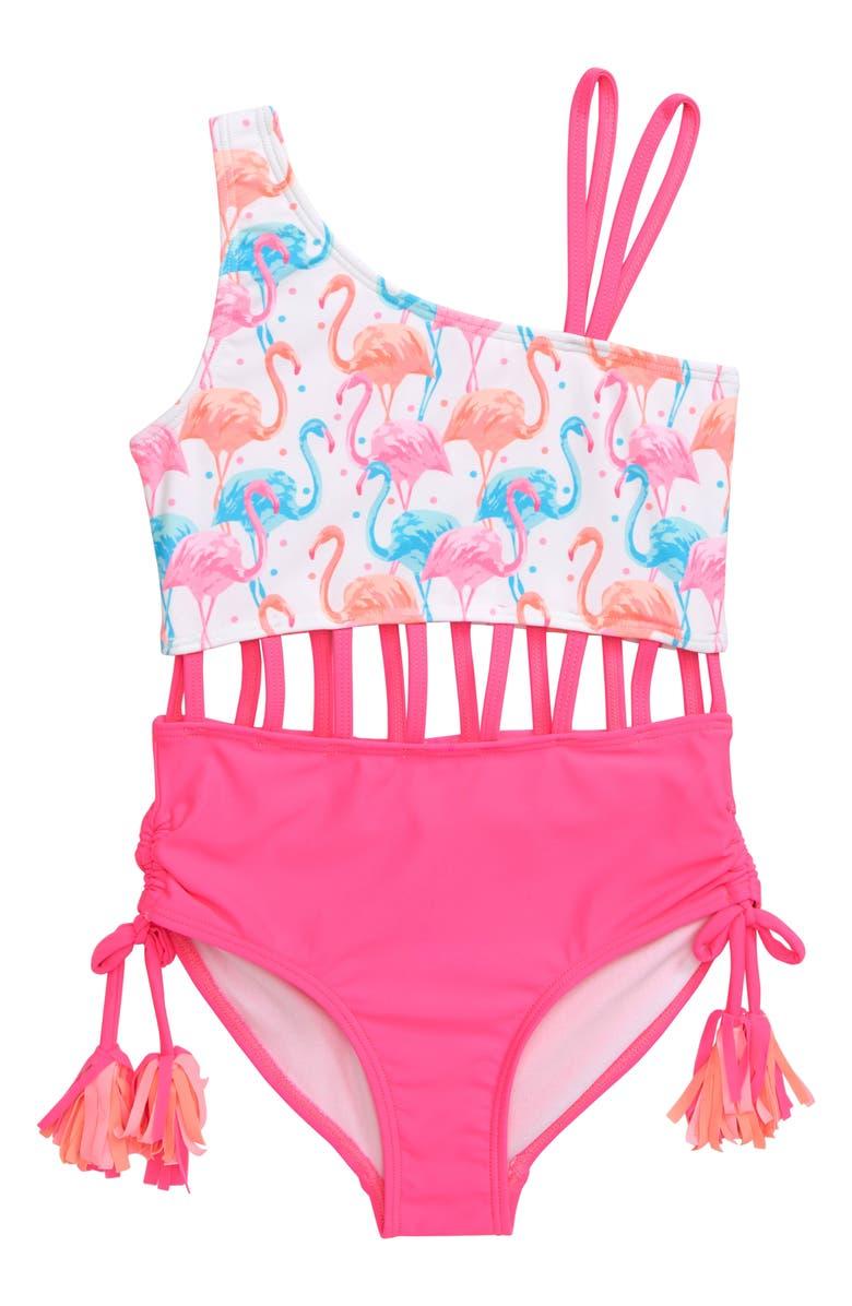 KATE MACK Flamingo One-Piece Swimsuit, Main, color, 661