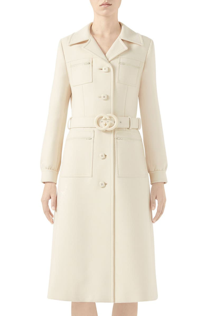 GUCCI Interlocking-G Belt Wool Coat, Main, color, GARDENIA