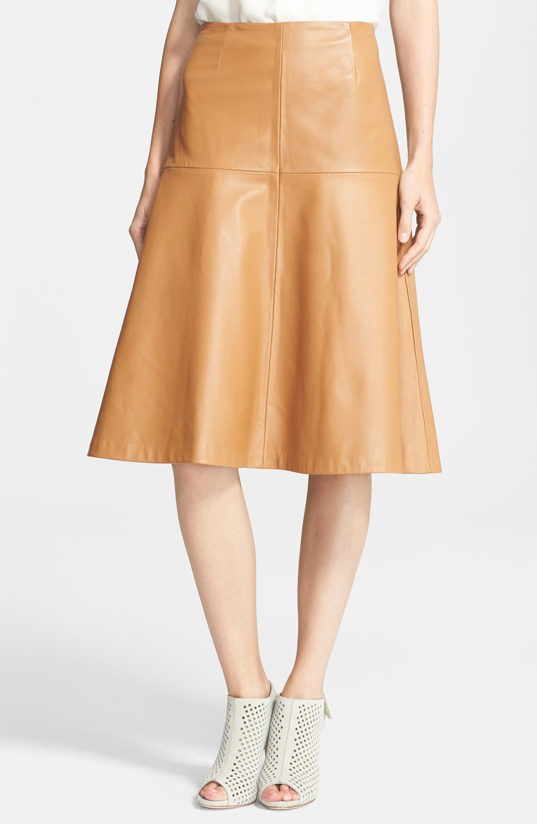 ,                             Leather Bell Skirt,                             Main thumbnail 1, color,                             250