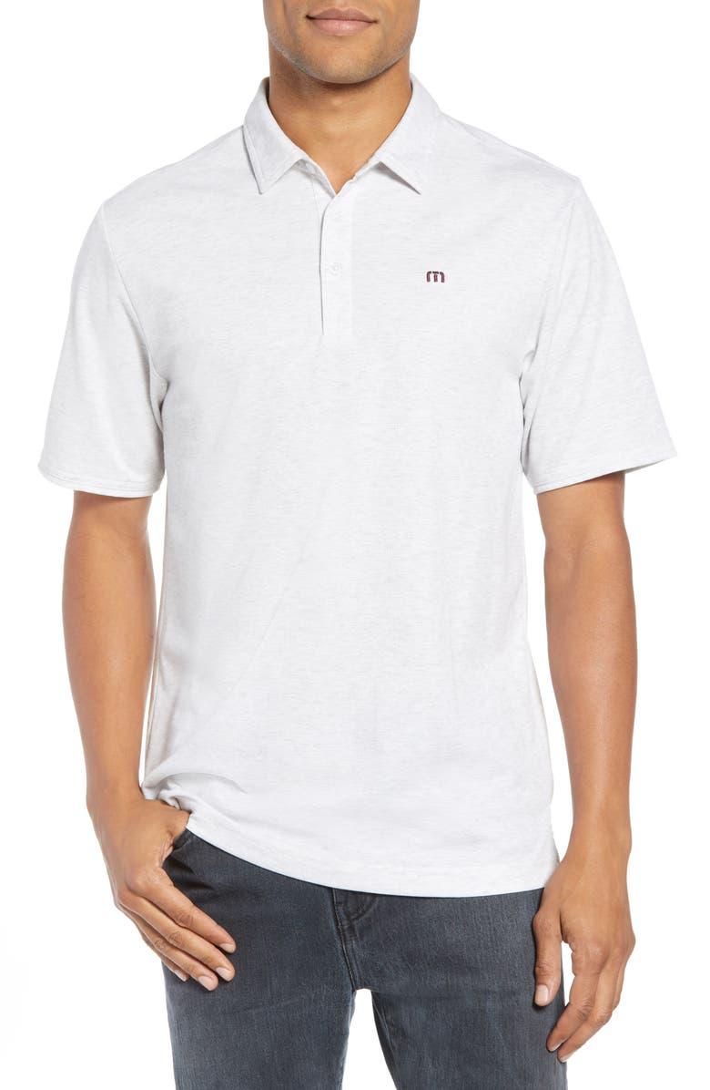 TRAVISMATHEW Classy Regular Fit Jersey Polo, Main, color, HEATHER WHITE