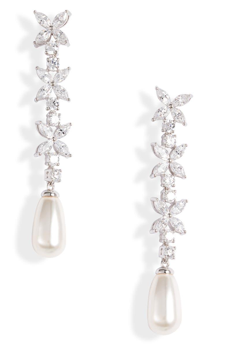 NADRI Cubic Zirconia & Imitation Pearl Drop Earrings, Main, color, 040