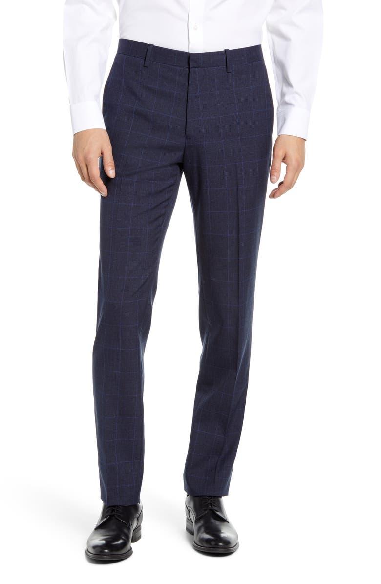 THEORY Mayer Kardova Plaid Wool Dress Pants, Main, color, ECLIPSE MULTI