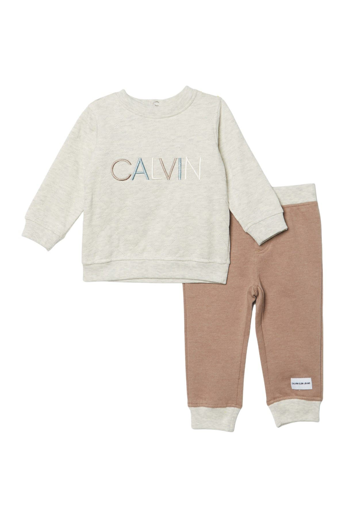 Image of Calvin Klein Embroidered Crew Sweater & Colorblock Sweatpants Set