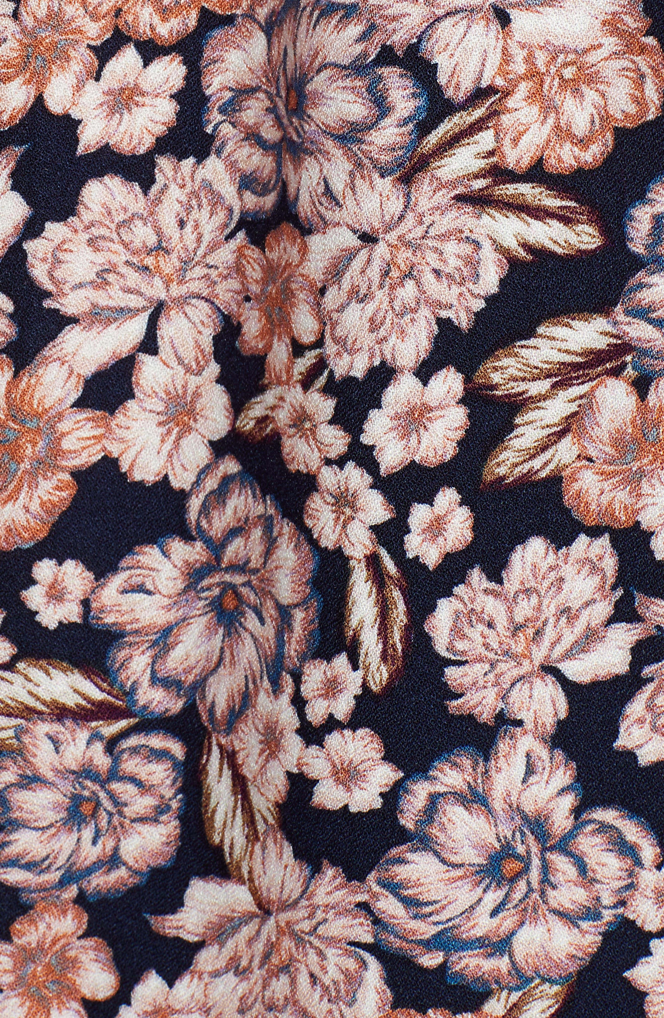,                             Pullover V-Neck Blouse,                             Alternate thumbnail 7, color,                             NAVY NIGHT ROMANTIC BLOOMS