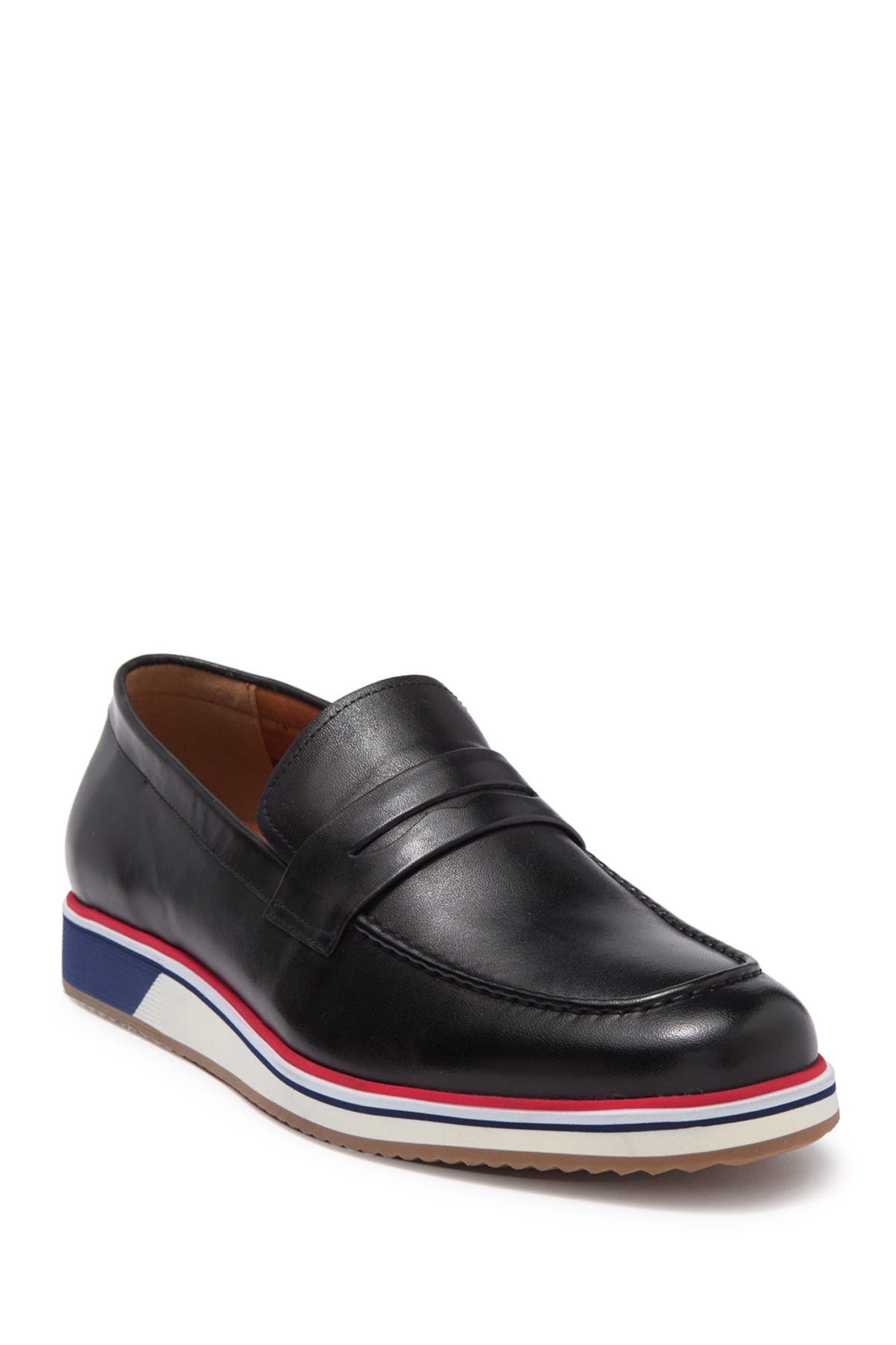 Image of Ike Behar Max Striped Midsole Leather Loafer