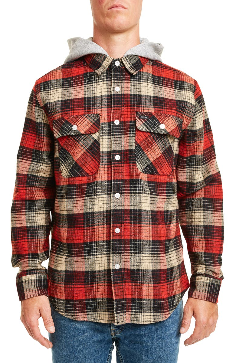 BRIXTON Bowery Hooded Button-Up Flannel Shirt, Main, color, RED/ BLACK COMBO