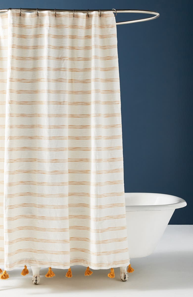 ANTHROPOLOGIE HOME Rio Shower Curtain, Main, color, MAIZE
