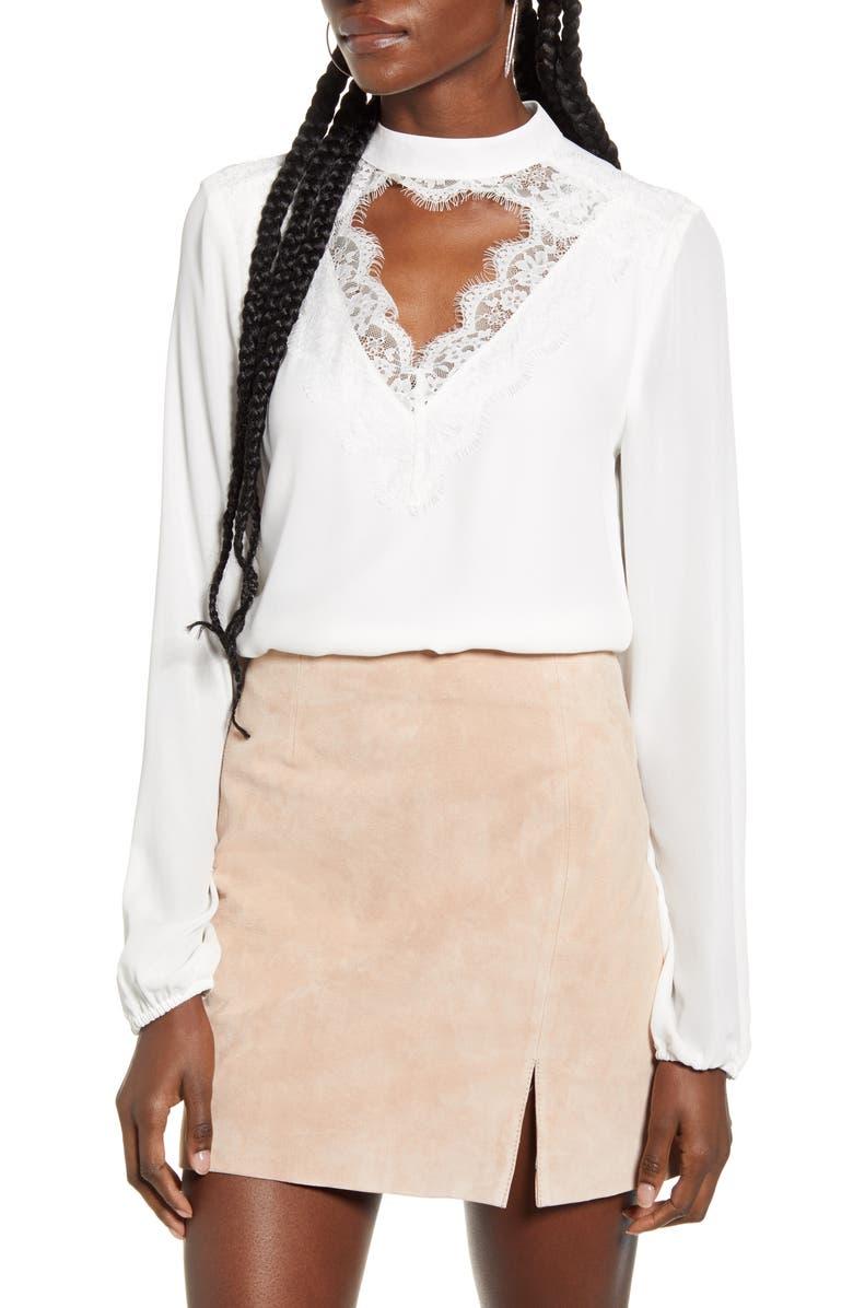 WAYF Eyelash Lace Keyhole Cutout Long Sleeve Top, Main, color, IVORY