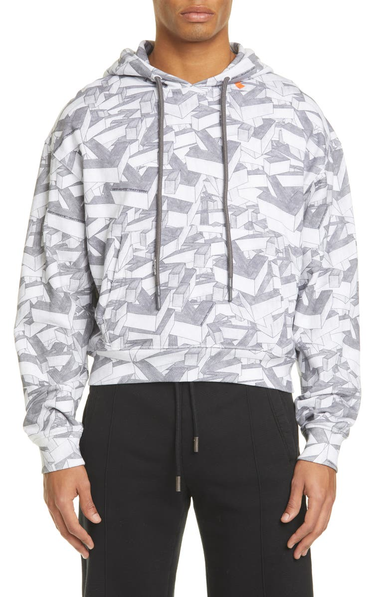 OFF-WHITE Arrows Print Cotton Hoodie, Main, color, ALL OVER BLACK