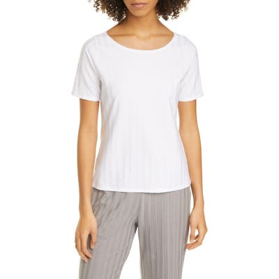 Eileen Fisher Ballet Neck Short Sleeve Top, White