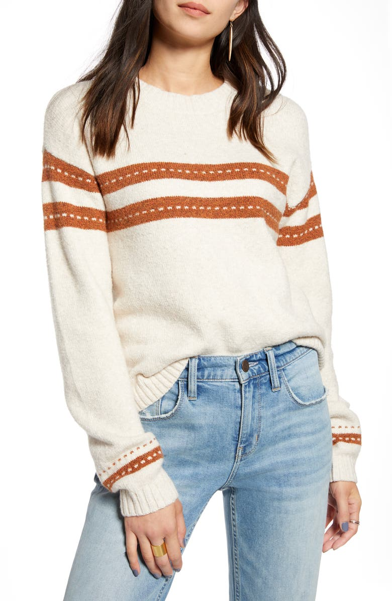 TREASURE & BOND Stitch Stripe Pullover, Main, color, BEIGE OATMEAL- ORANGE COMBO