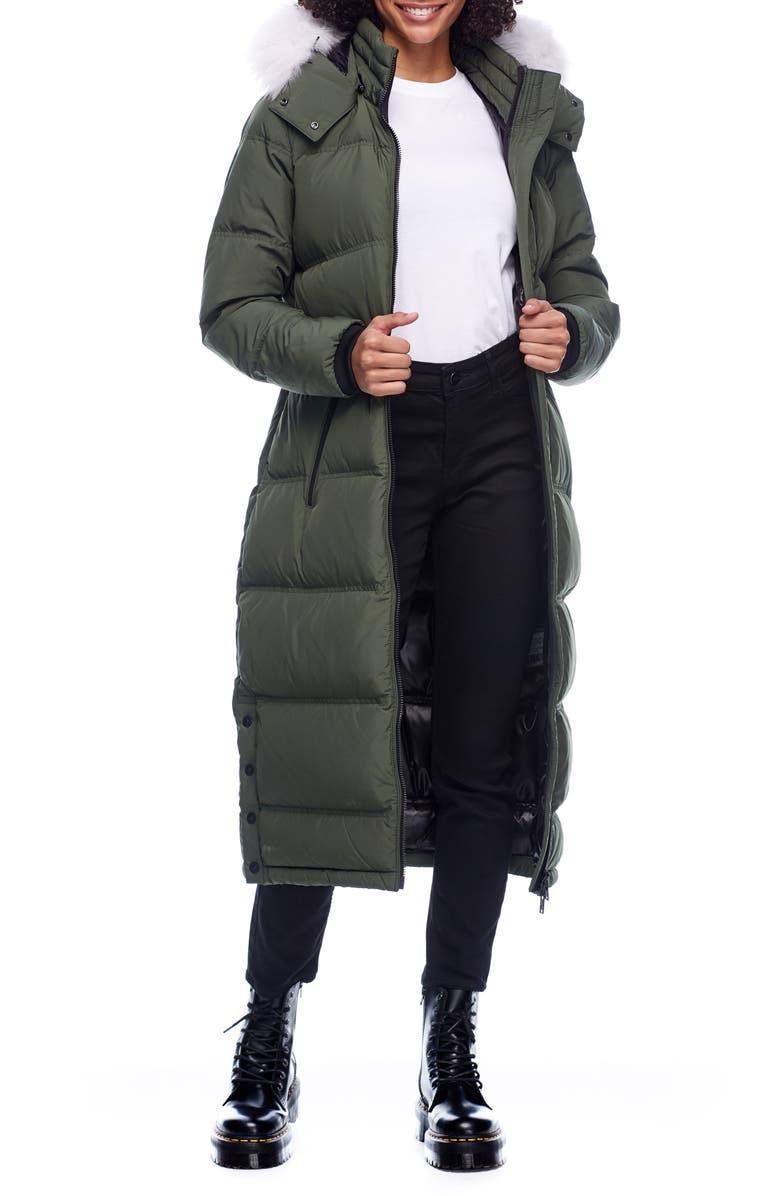 MOOSE KNUCKLES Fox Valley Genuine Fox Fur Trim Down Coat, Main, color, ARMY