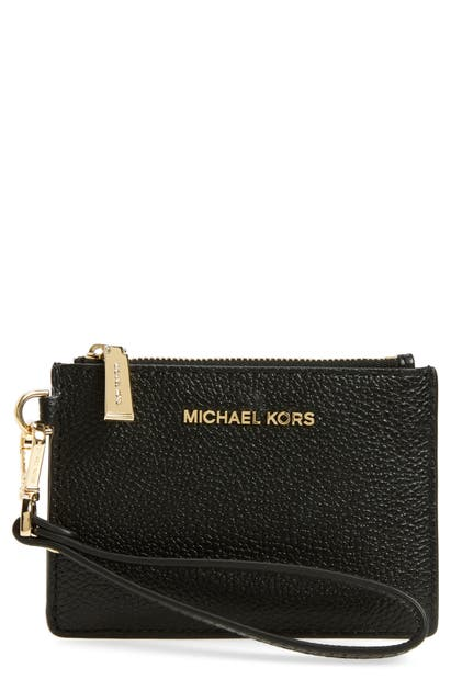 Michael Michael Kors Small Money Pieces Leather Coin Purse In Black
