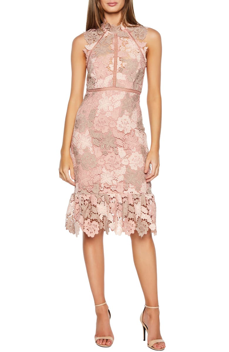 BARDOT Dani Lace Sheath Dress, Main, color, ROSE/ BEIGE