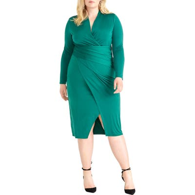Plus Size Rachel Rachel Roy Bret Long Sleeve Faux Wrap Dress, Green