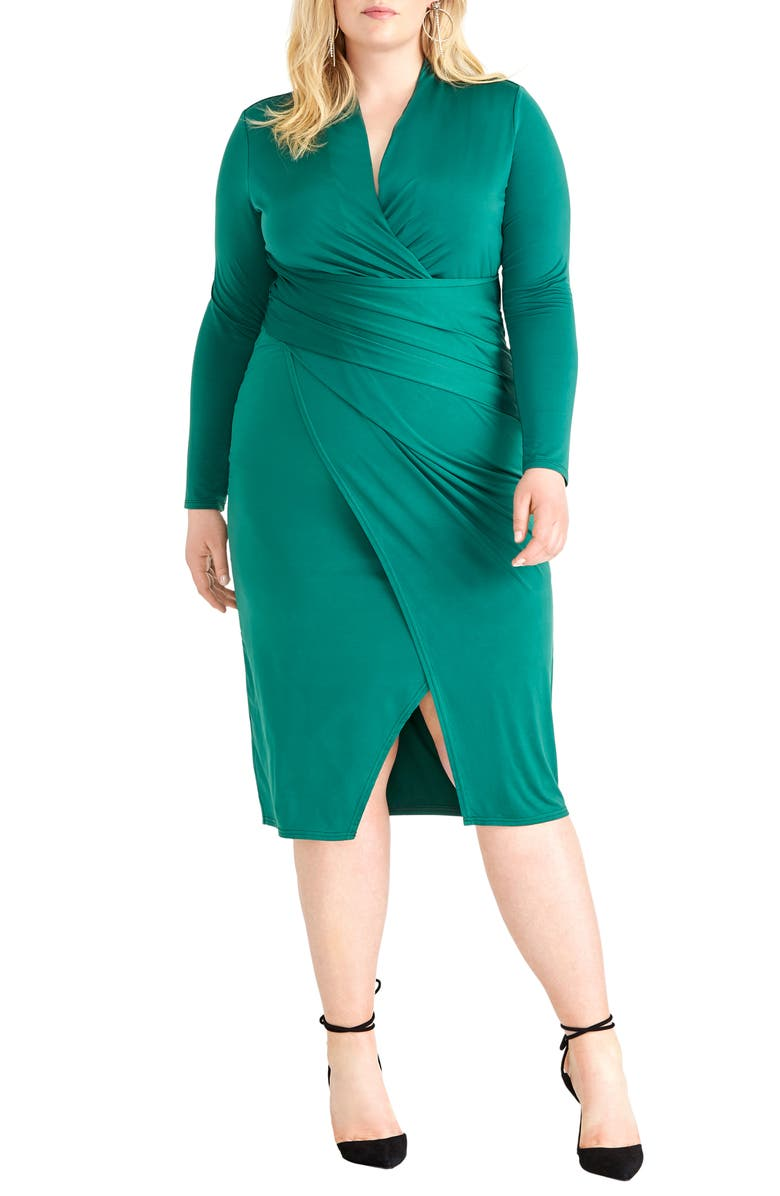 RACHEL RACHEL ROY Bret Long Sleeve Faux Wrap Dress, Main, color, IVY GREEN