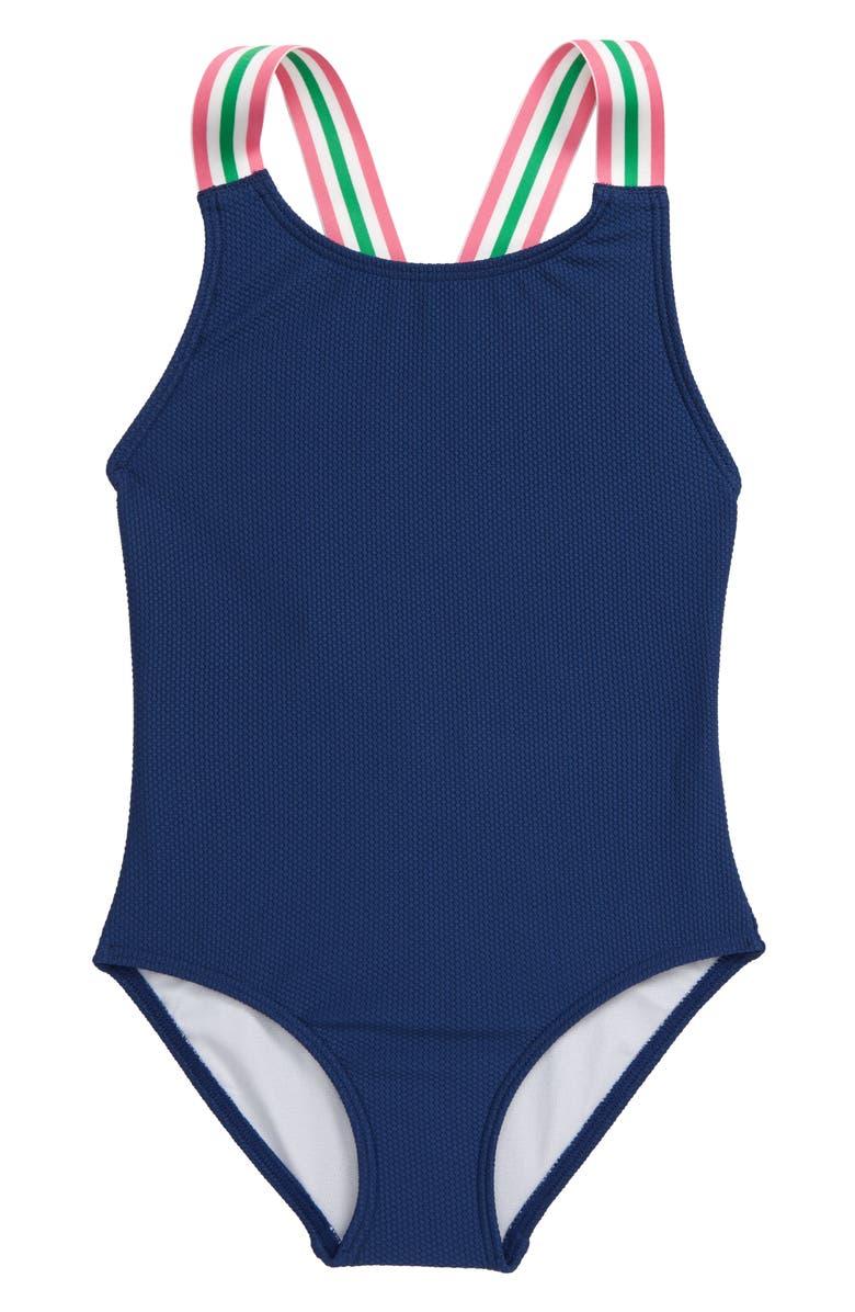 MINI BODEN Retro Stripe Swimsuit, Main, color, 414