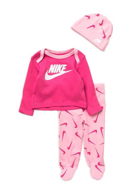 Image of Nike Logo T-Shirt, Pants, & Beanie Hat Set