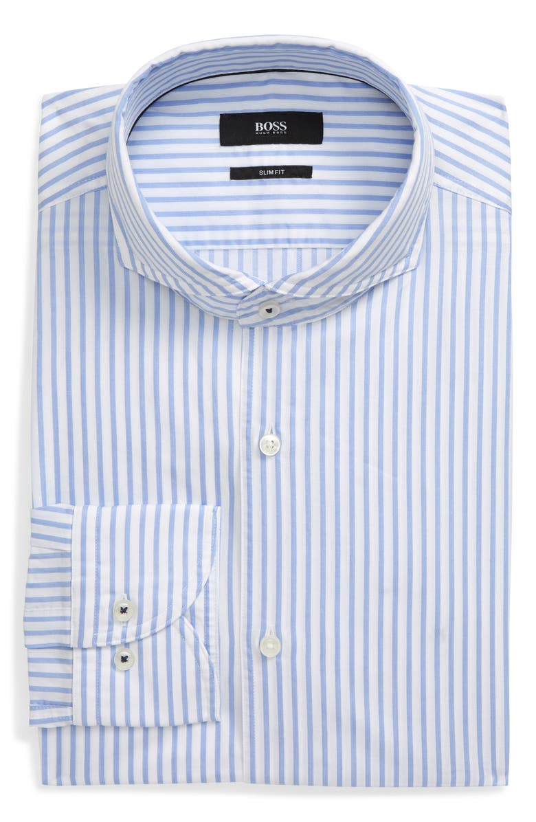 BOSS Slim Fit Stripe Dress Shirt, Main, color, BLUE