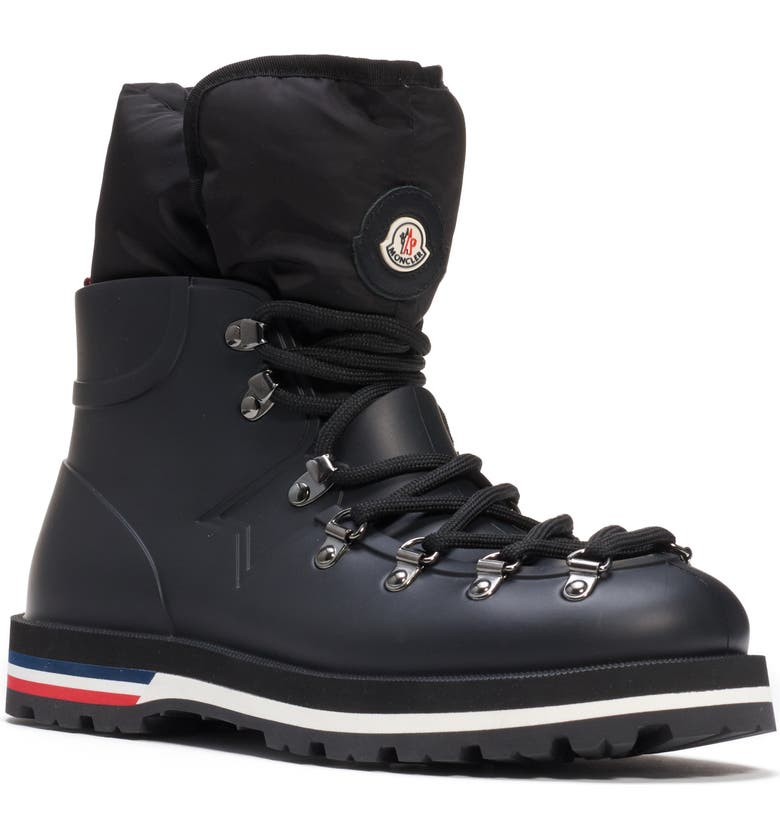 MONCLER Inaya Puffer Lined Hiking Rain Boot, Main, color, BLACK