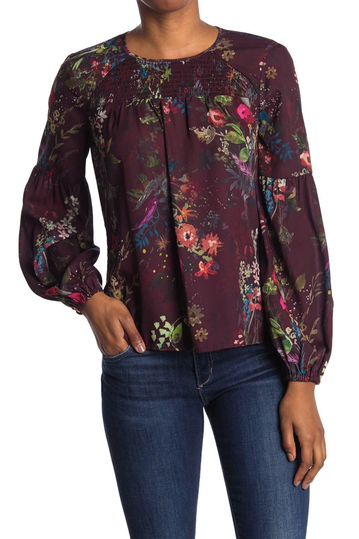 Image of Parker Smocked Neckline Floral Blouse