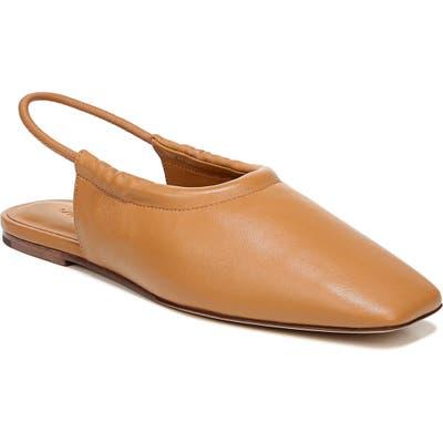 Vince Cadya Square Toe Slingback Flat- Brown