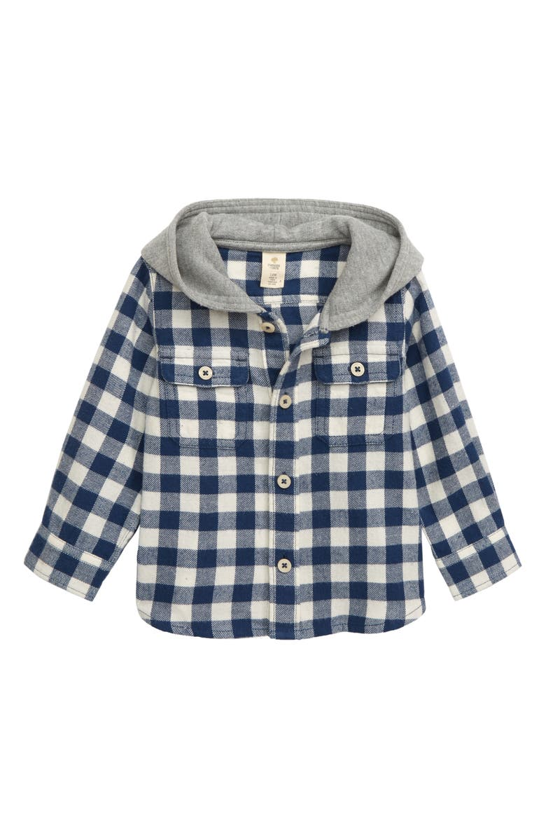 TUCKER + TATE Hooded Flannel Shirt, Main, color, NAVY DENIM- IVORY CHECK