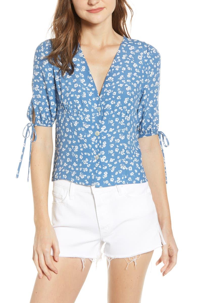 RAILS Amelia Tie Sleeve Blouse, Main, color, BLUE DAISIES