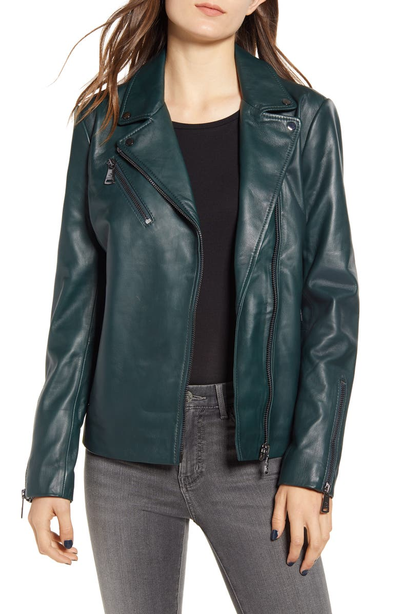 BERNARDO Curry Lamb Leather Moto Jacket, Main, color, DEEP GREEN