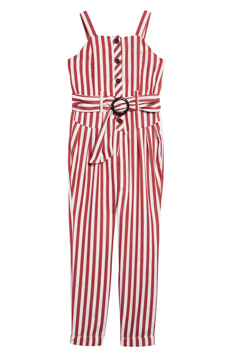 HABITUAL Maddeira Stripe Jumpsuit, Main, color, RED