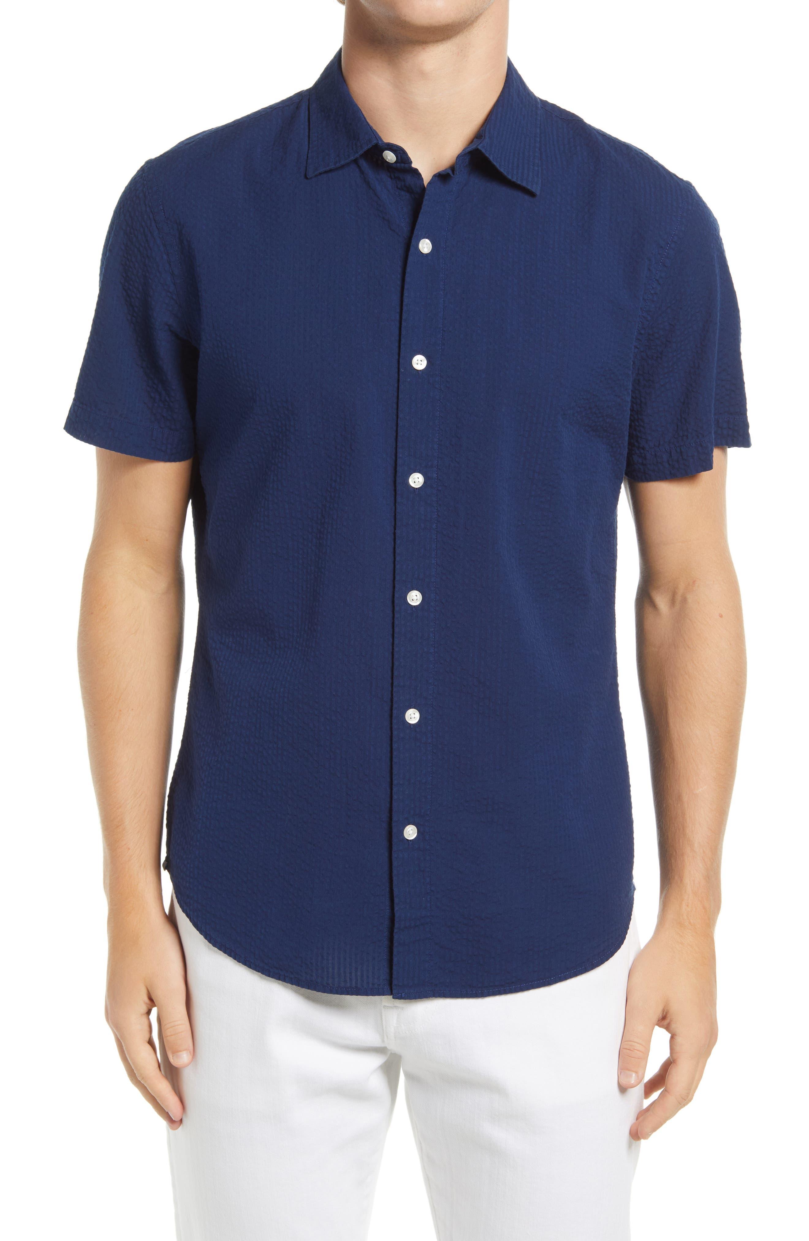 Riviera Slim Fit Short Sleeve Seersucker Button-Up Shirt