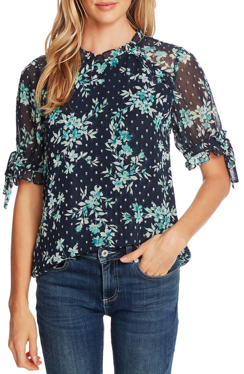 CECE Breezy Bouquet Clip Dot Short Sleeve Top, Main, color, NIGHT SHADE
