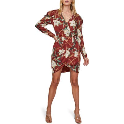 Astr The Label London Floral Long Sleeve Minidress, Red