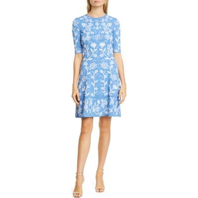 Lela Rose Floral Jacquard Flare Hem Sweater Dress, Blue