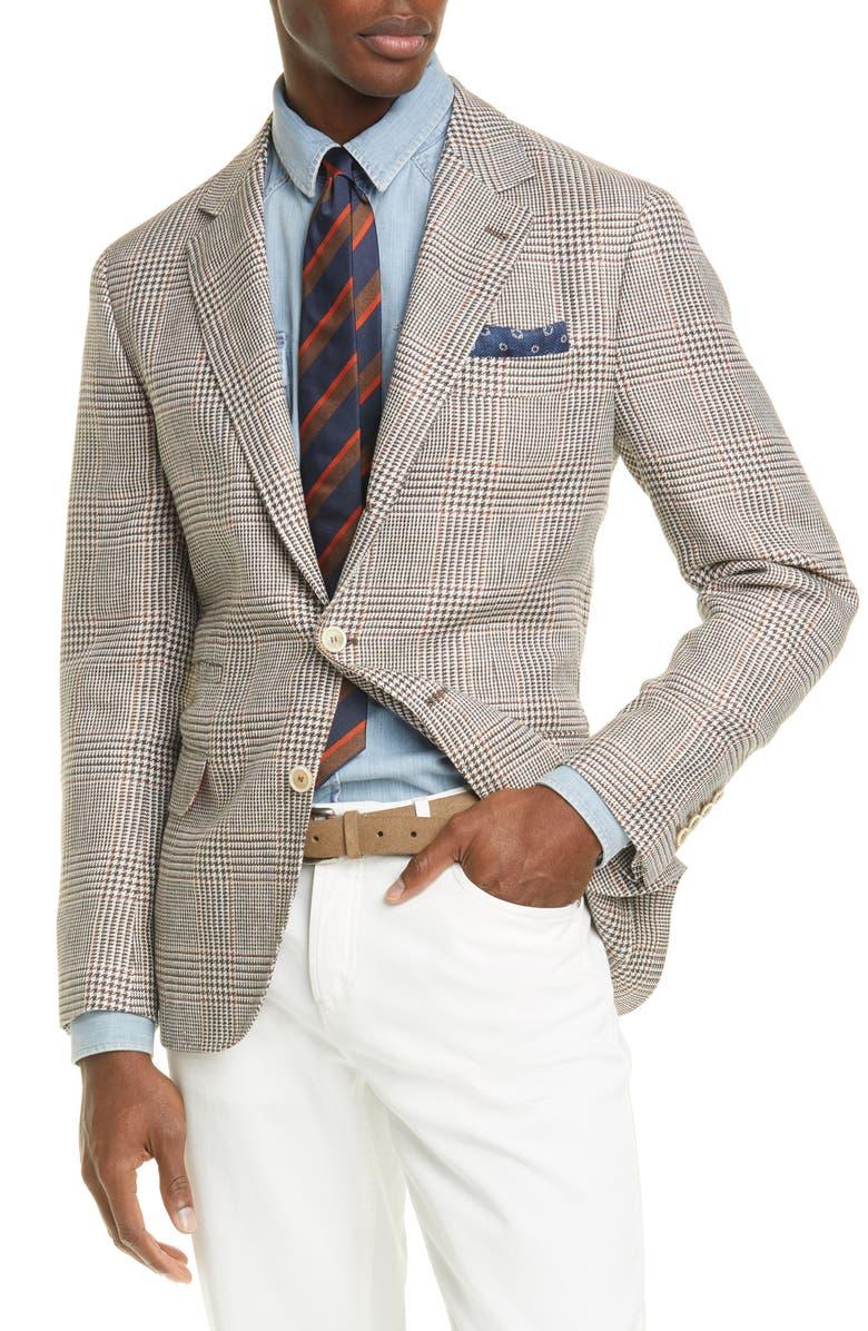 BRUNELLO CUCINELLI Trim Fit Houndstooth Plaid Linen Blend Sport Coat, Main, color, BROWN