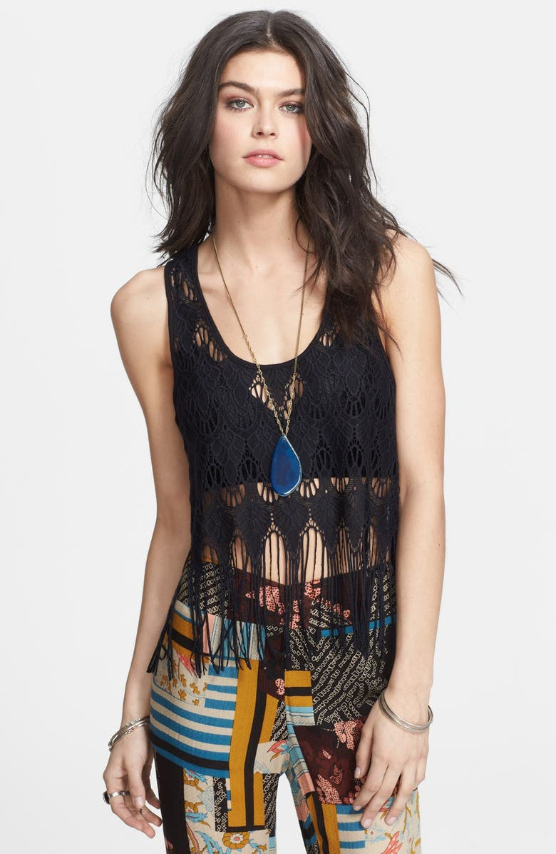 FREE PEOPLE Fringed Lace Tank, Main, color, 001