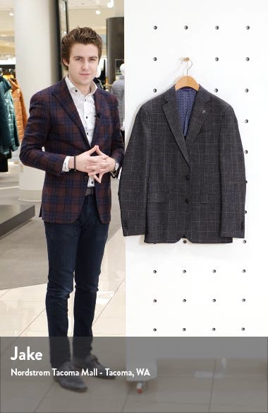 Konan Trim Fit Windowpane Wool Blend Sport Coat, sales video thumbnail
