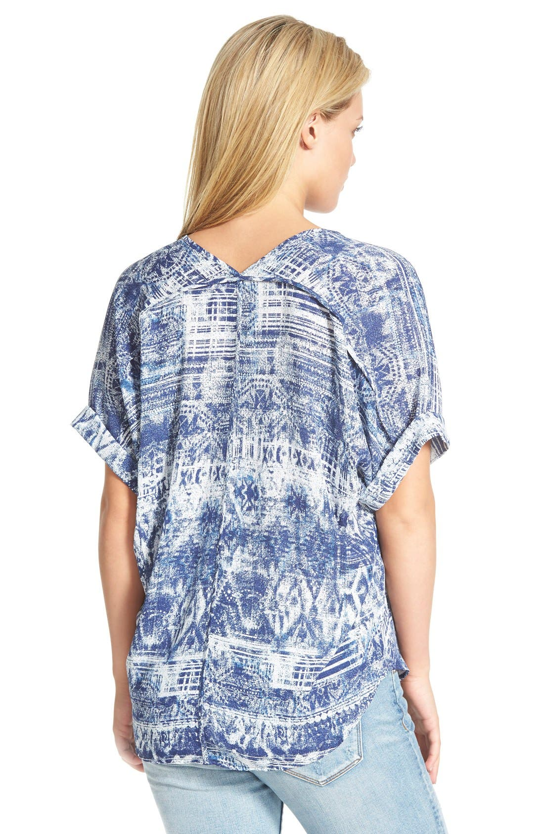 ,                             Lush Cuff Sleeve Woven Tee,                             Alternate thumbnail 91, color,                             409