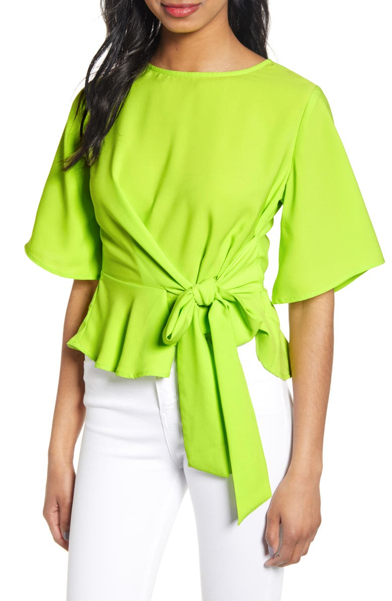 J.O.A. Tie Front Peplum Top, Main, color, GREEN YELLOW