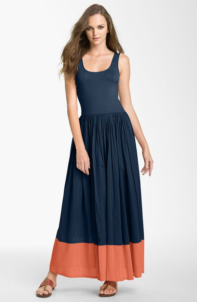 FRENCH CONNECTION Colorblock Cotton Tank Maxi Dress, Main, color, 423