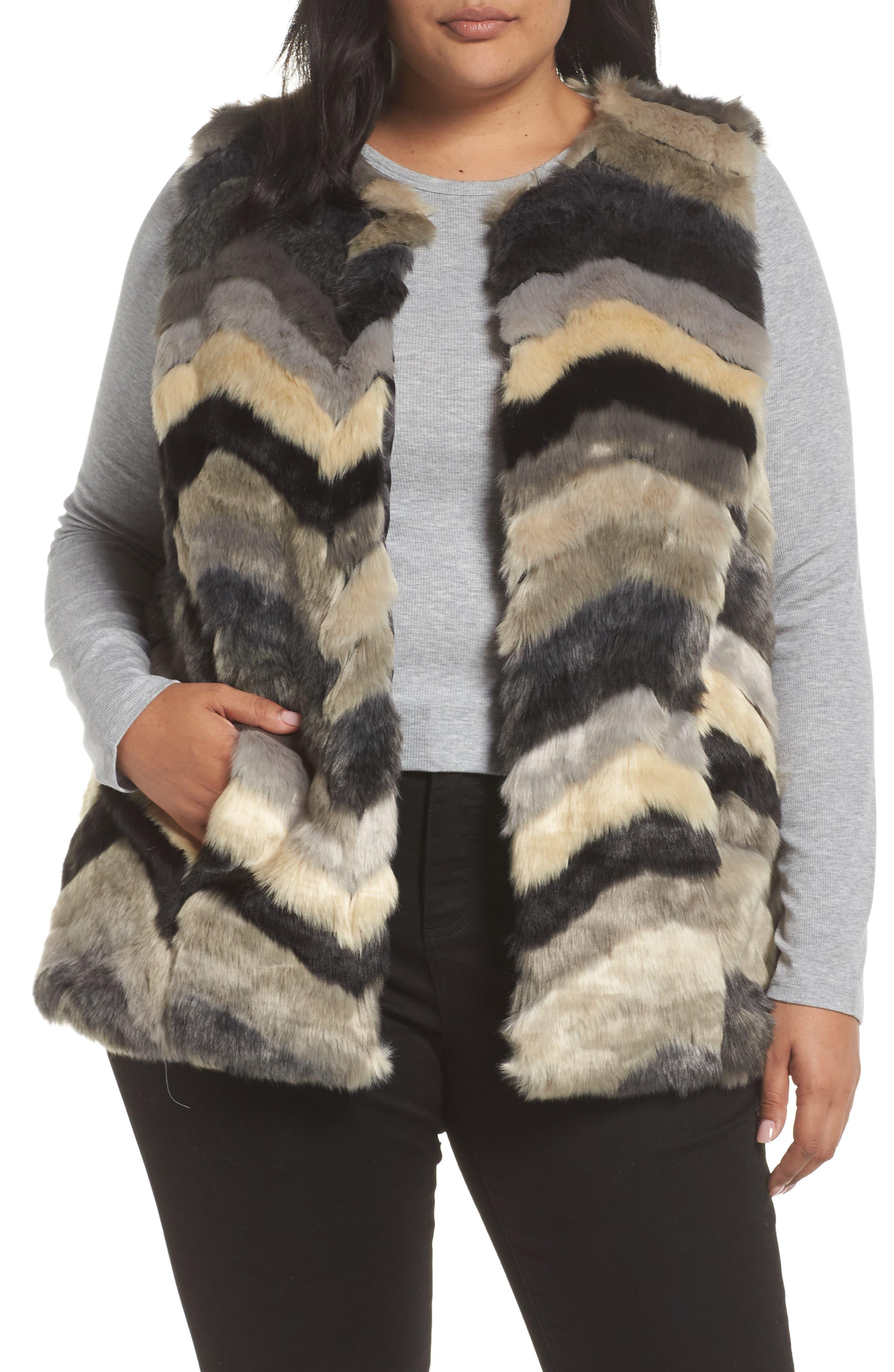 Chevron Faux Fur Vest, Main, color, 001