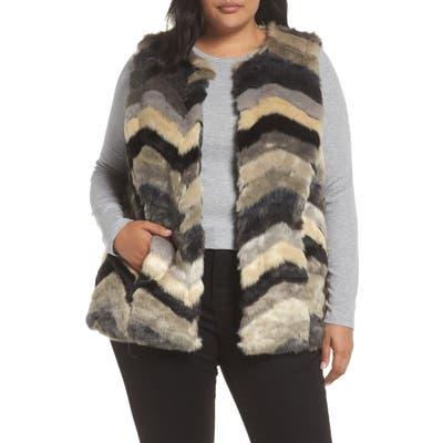 Plus Size Single Thread Chevron Faux Fur Vest, Black