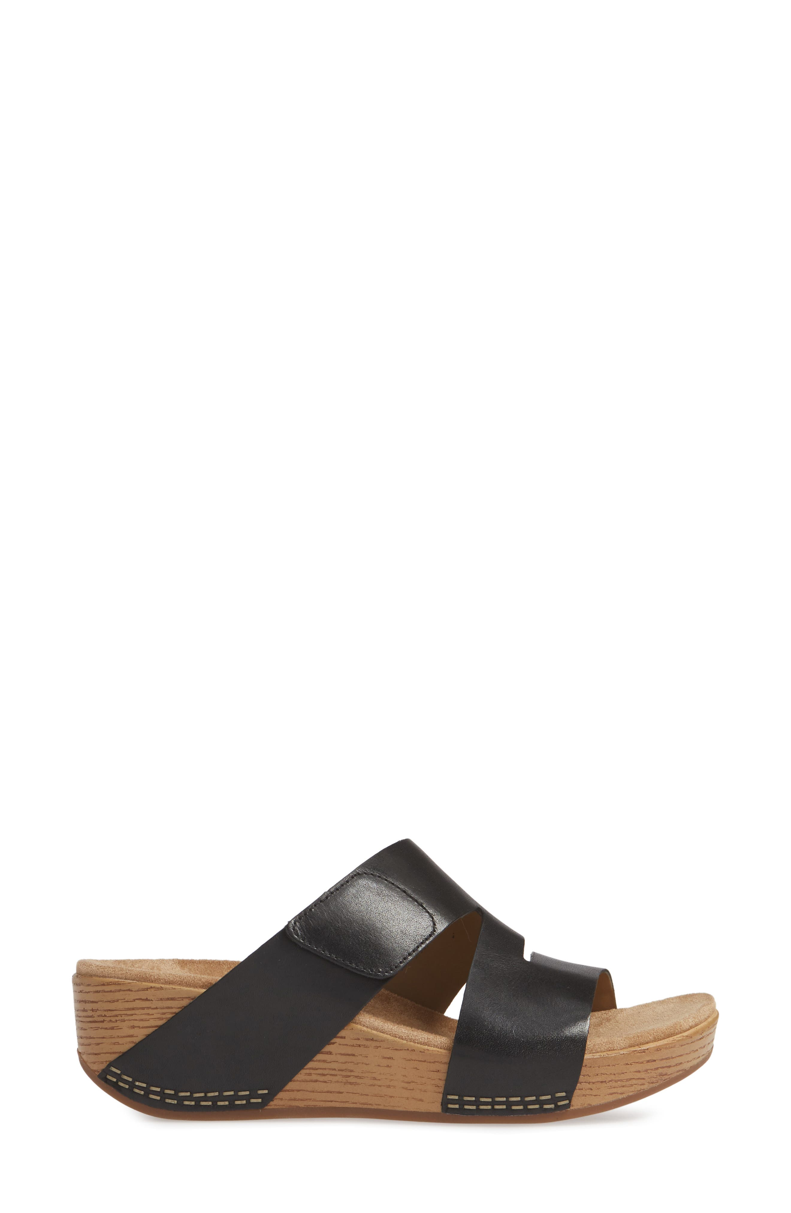 ,                             Lacee Slide Sandal,                             Alternate thumbnail 3, color,                             BLACK LEATHER