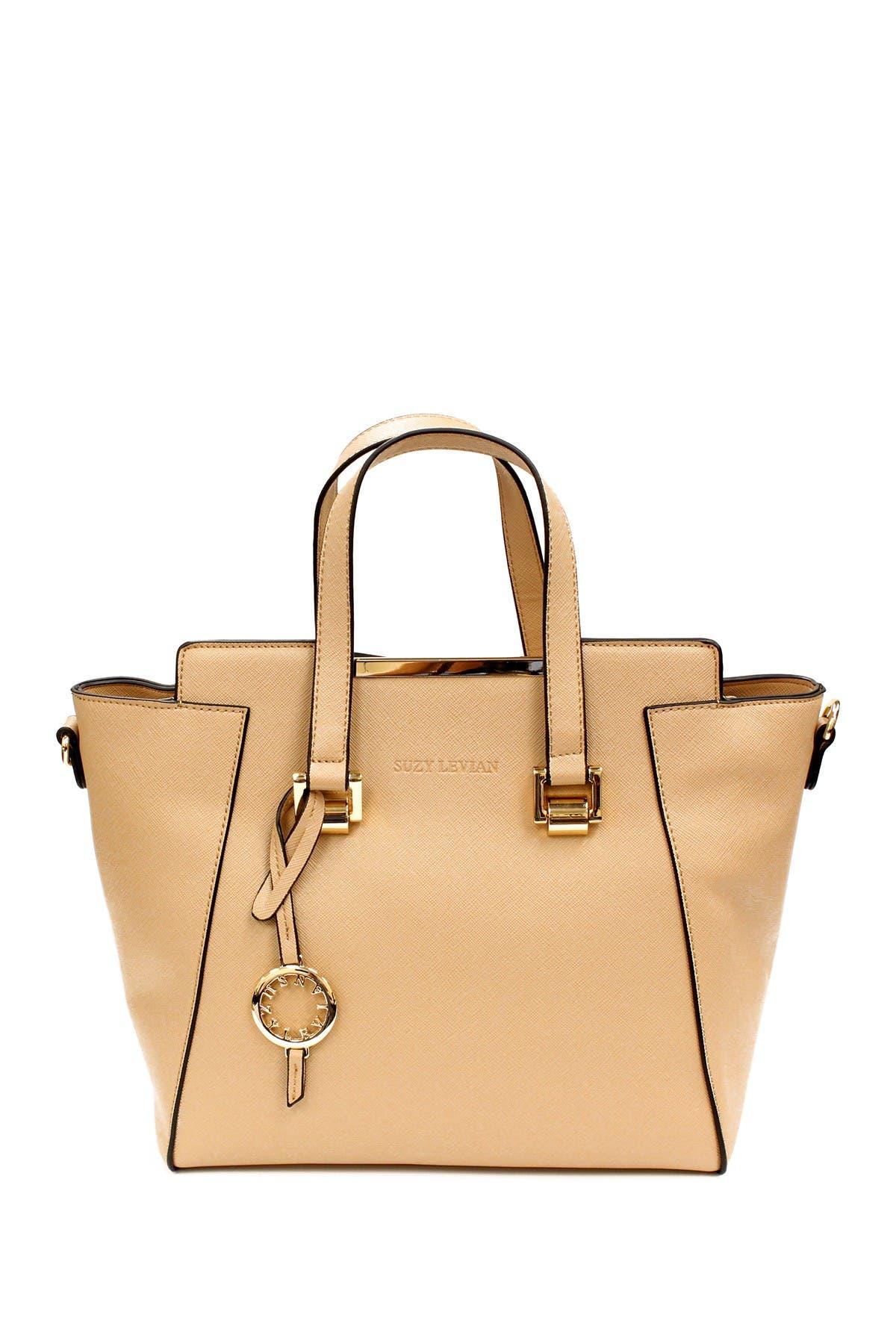 Image of Suzy Levian Saffiano Faux Leather Satchel Bag
