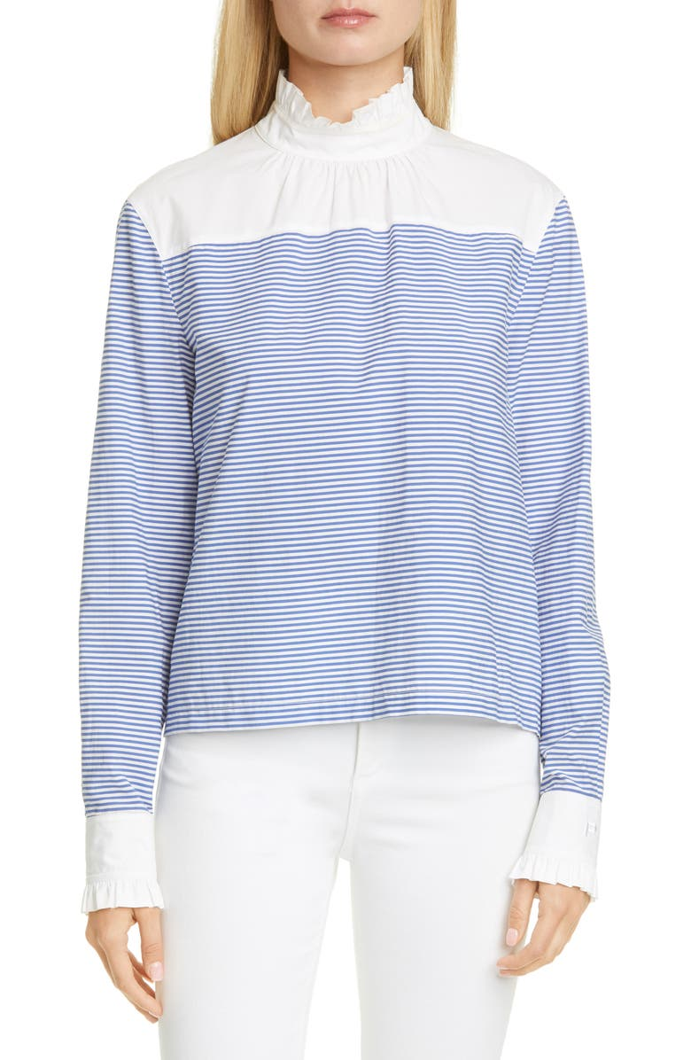 PHILOSOPHY DI LORENZO SERAFINI Stripe Ruffle Cotton Blend Top, Main, color, 469