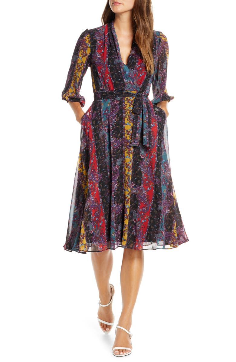 MAISON TARA Stripe Paisley Chiffon Faux Wrap Dress, Main, color, RED/ BLACK/ TEAL